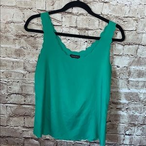 Timing emerald green tank with scalloped edges